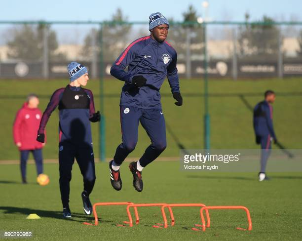 Eliaquim Mangala in action during training at Manchester City Football Academy on December 11 2017 in Manchester England