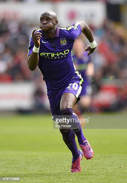 Eliaquim Mangala of City in action during the Barclays Premier League match between Swansea City and Manchester City at Liberty Stadium on May 17...