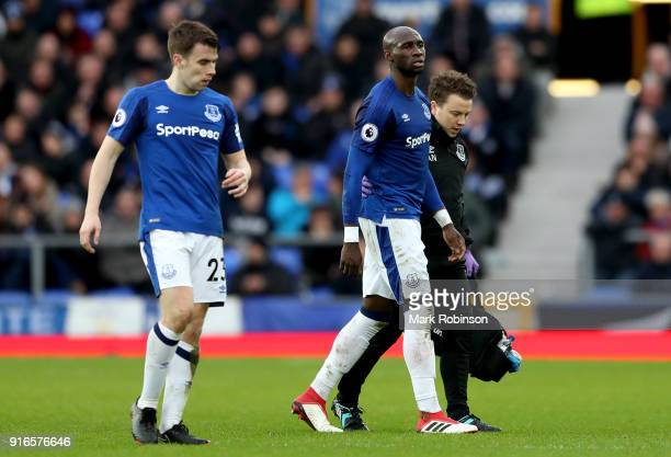 Eliaquim Mangala of Everton leaves the pitch injured during the Premier League match between Everton and Crystal Palace at Goodison Park on February...