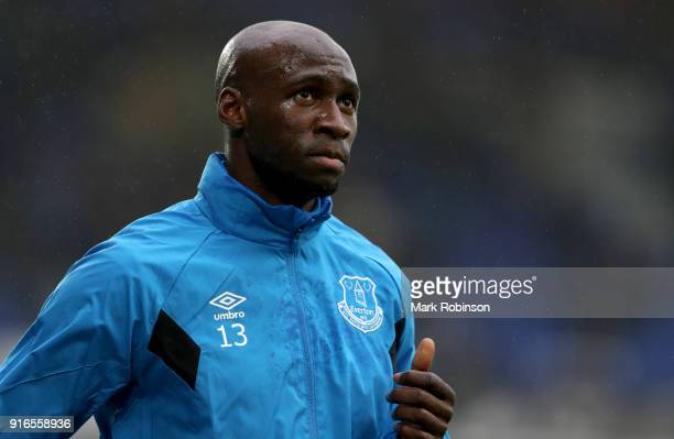 Eliaquim Mangala of Everton warms up ahead of the Premier League match between Everton and Crystal Palace at Goodison Park on February 10 2018 in...