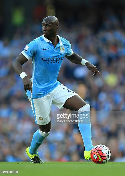 Eliaquim Mangala of Man City in action during the Barclays Premier League match between Manchester City and West Ham United at the Etihad Stadium on...