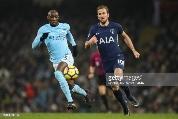 Eliaquim Mangala of Manchester City and Harry Kane of Tottenham Hotspur during the Premier League match between Manchester City and Tottenham Hotspur...