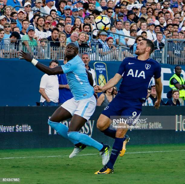 Eliaquim Mangala of Manchester City and Vincent Janssen of Tottenham watch a ball during the second half of the 2017 International Champions Cup...