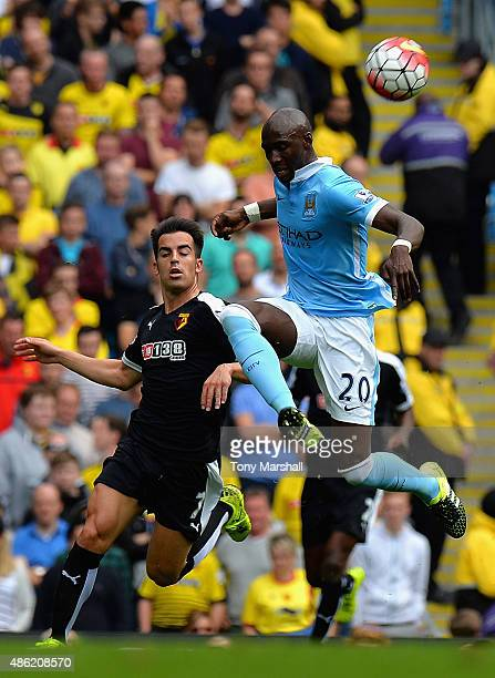 Eliaquim Mangala of Manchester City clears the ball during the Barclays Premier League match between Manchester City and Watford at the Etihad...