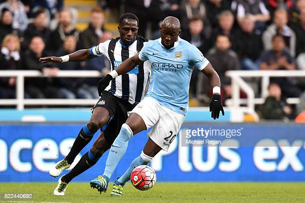 Eliaquim Mangala of Manchester City controls the ball during the Barclays Premier League match between Newcastle United and Manchester City at St...