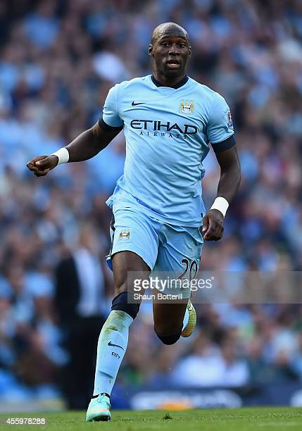 Eliaquim Mangala of Manchester City during the Barclays Premier League match between Manchester City and Chelsea at the Etihad Stadium on September...