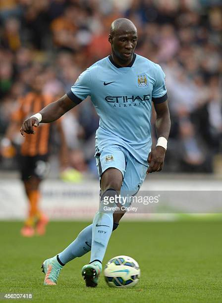 Eliaquim Mangala of Manchester City during the Barclays Premier League match between Hull City and Manchester City at KC Stadium on September 27 2014...