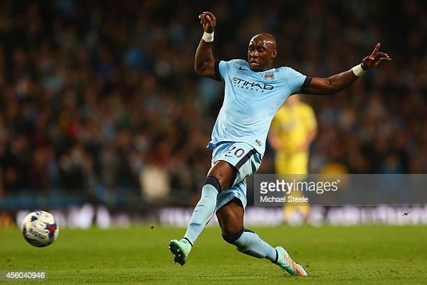 Eliaquim Mangala of Manchester City during the Capital One Cup Third Round match between Manchester City and Sheffield Wednesday at the Etihad...