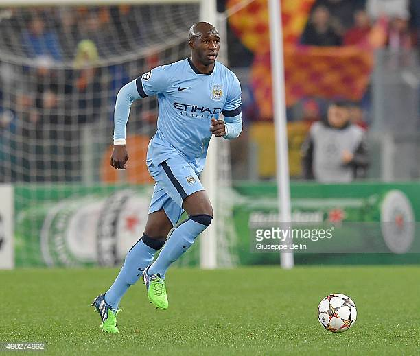 Eliaquim Mangala of Manchester City FC in action during the UEFA Champions League Group E match between AS Roma and Manchester City FC at Stadio...