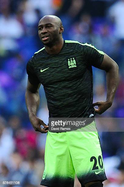 Eliaquim Mangala of Manchester City FC looks on during the warm up prior to the UEFA Champions League Semi Final second leg match between Real Madrid...