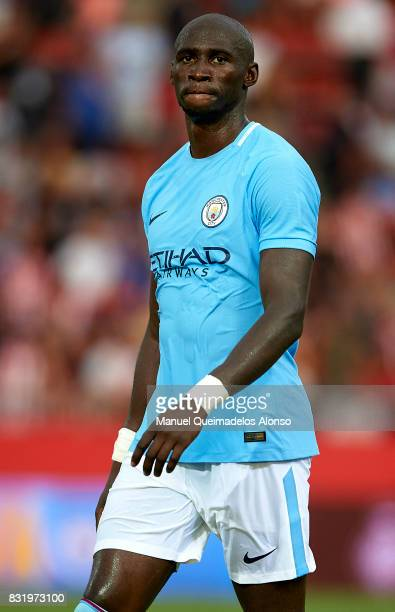 Eliaquim Mangala of Manchester City looks on after the end the preseason friendly match between Girona and Manchester City at Municipal de Montilivi...