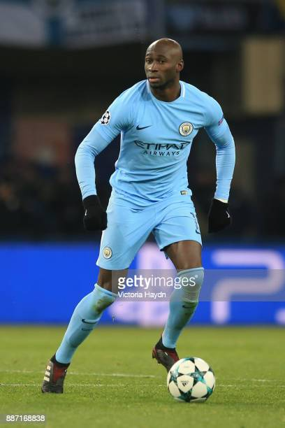 Eliaquim Mangala of Manchester City looks on during the UEFA Champions League group F match between Shakhtar Donetsk and Manchester City at Metalist...