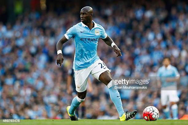 Eliaquim Mangala of Manchester City runs with the ball during the Barclays Premier League match between Manchester City and West Ham United at Etihad...