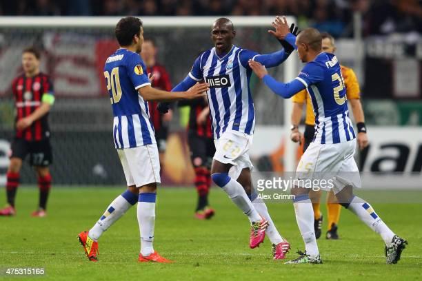 Eliaquim Mangala of Porto celebrates his team's second goal with team mates Carlos Eduardo and Fernando during the UEFA Europa League Round of 32...