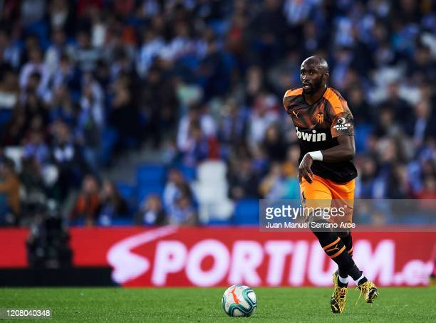 Eliaquim Mangala of Valencia CF in action during the Liga match between Real Sociedad and Valencia CF at Estadio Anoeta on February 22 2020 in San...