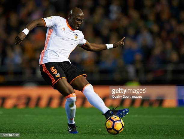 Eliaquim Mangala of Valencia in action during the La Liga match between Valencia CF and CD Leganes at Mestalla Stadium on February 28 2017 in...