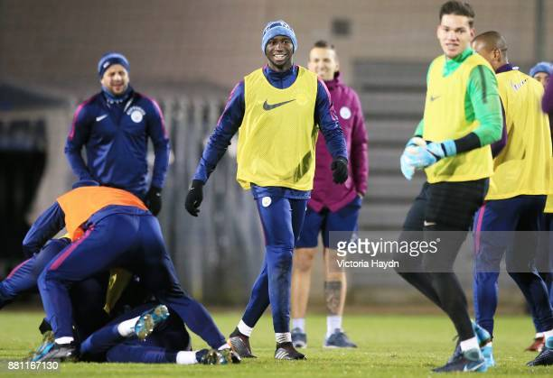 Eliaquim Mangala reacts during training at Manchester City Football Academy on November 28 2017 in Manchester England