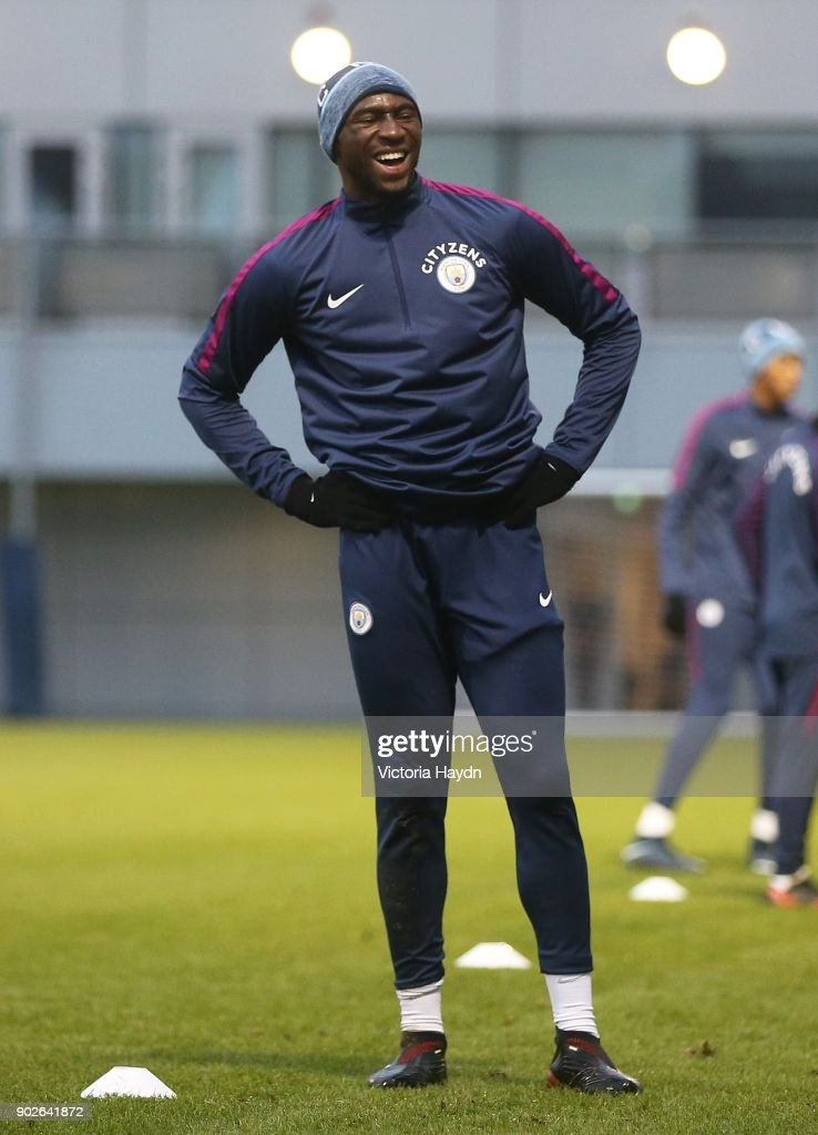 Eliaquim Mangala reacts during training at Manchester City Football Academy on January 8, 2018 in Manchester, England.