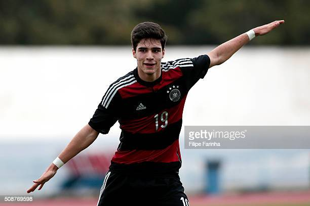 Elias Abouchabaka of Germany celebrates the goal during the UEFA Under16 match between U16 France v U16 Germany on February 6 2016 in Vila Real de...