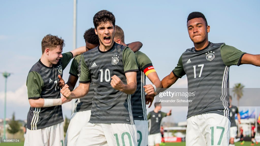 Elias Abouchabaka of Germany celebrates the third goal for his team with his teammates during the UEFA U17 elite round match between Germany and Turkey on March 28, 2017 in Manavgat, Turkey.