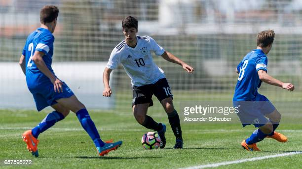 Elias Abouchabaka of Germany in action during the UEFA U17 elite round match between Germany and Finland on March 25 2017 in Manavgat Turkey