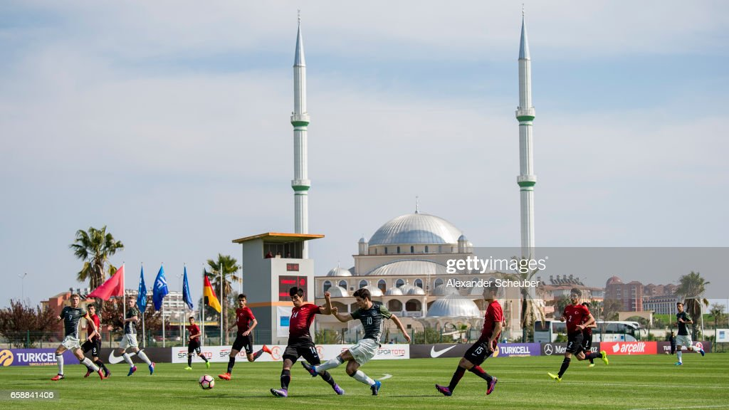 Elias Abouchabaka of Germany in action during the UEFA U17 elite round match between Germany and Turkey on March 28, 2017 in Manavgat, Turkey.