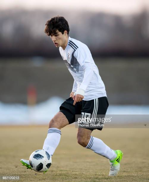 Elias Abouchabaka of Germany in action during the Under 18 international friendly match between U18 of Germany and U18 of France at Ilburg Stadium on...