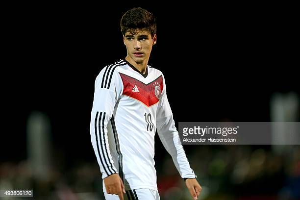 Elias Abouchabaka of Germany looks on during the U16 international friendly match between Austria and Germany at Buergerausee stadium on October 22...