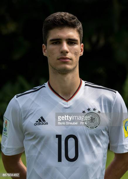 Elias Abouchabaka of Germany pose ahead of the FIFA U17 World Cup India 2017 tournament at Park Hyatt Goa Resort on October 5 2017 in Goa India
