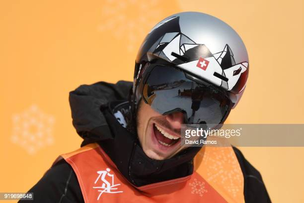 Elias Ambuehl of Switzerland reacts after hearing his s score during the Freestyle Skiing Men's Ski Slopestyle Final on day nine of the PyeongChang...