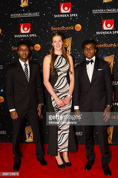 Elias and Mikael Ymer attend the Swedish Sports Gala at the Ericsson Globe on January 25 2016 in Stockholm Sweden