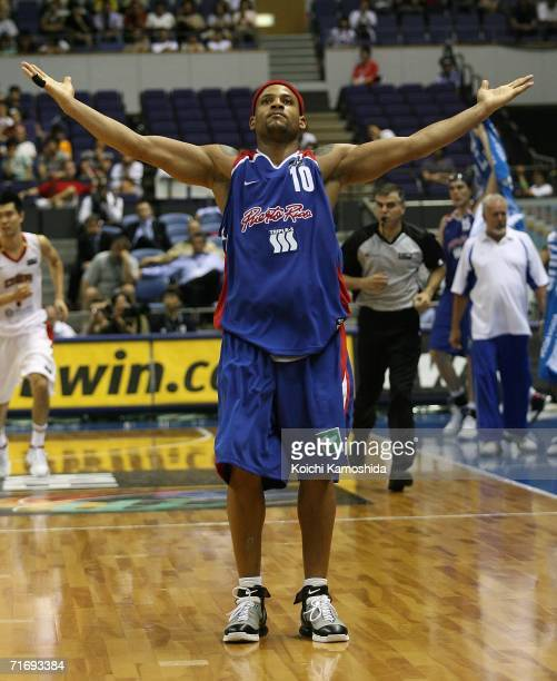 Elias Ayuso of Puerto Rico celebrates against China during the preliminary round of FIBA World Championships 2006 on August 22 2006 in Sapporo Japan...
