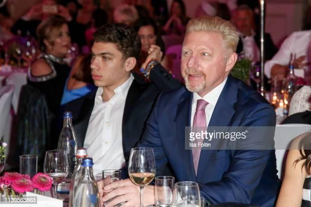 Elias Balthasar Becker and his father former German tennis player Boris Becker during the Gloria Deutscher Kosmetikpreis at Hilton Hotel on March 30...