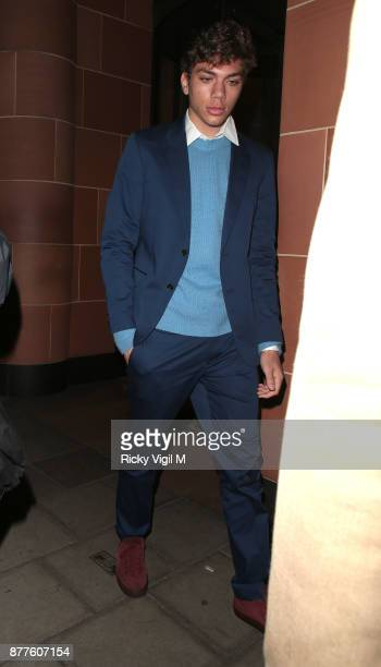Elias Balthasar Becker seen leaving C restaurant in Mayfair after celebrating Boris Becker's 50th birthday party on November 22 2017 in London England