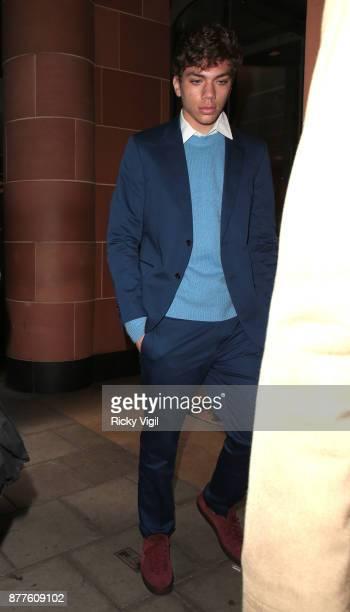 Elias Balthasar Becker seen leaving C restaurant in Mayfair after celebrating Boris Becker's 50th birthday party on November 22 2017 in London England