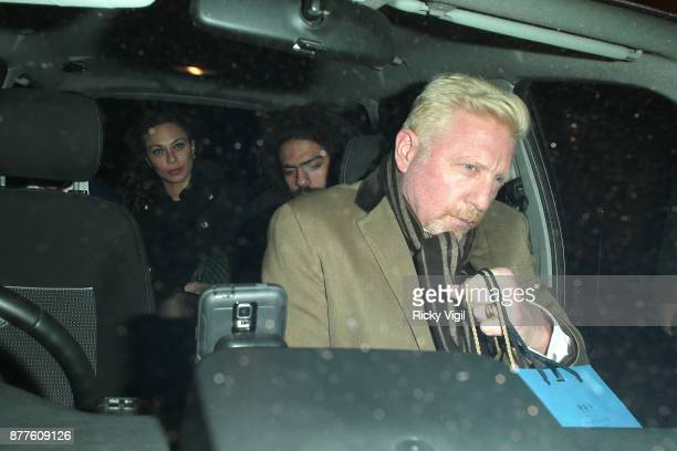 Elias Balthasar Lilly Noah Gabriel and Boris Becker seen leaving C restaurant in Mayfair after celebrating Boris Becker's 50th birthday party on...