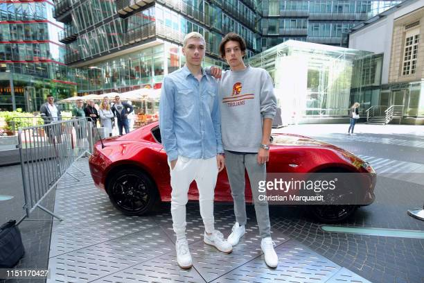 Elias Becker and guest Jeremy attends the Mazda Spring Cocktail at Sony Centre on May 23 2019 in Berlin Germany