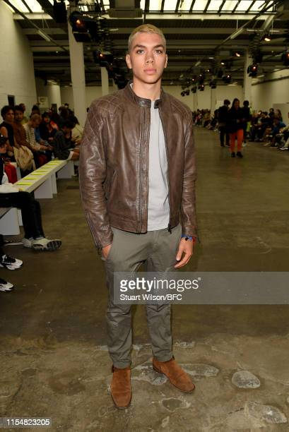 Elias Becker attends the Studio ALCH show during London Fashion Week Men's June 2019 at the BFC Show Space on June 09 2019 in London England