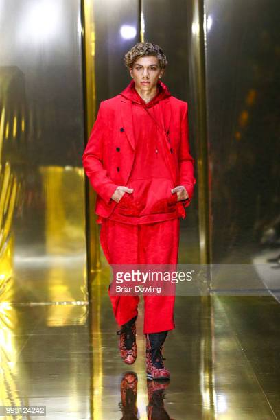 Elias Becker walks the runway at the Michalsky StyleNite show during the Berlin Fashion Week Spring/Summer 2019 at Tempodrom on July 6 2018 in Berlin...