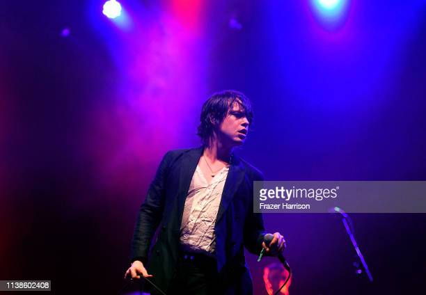 Elias Bender Rønnenfelt of Iceage performs at Sonora Stage during the 2019 Coachella Valley Music And Arts Festival on April 21, 2019 in Indio,...