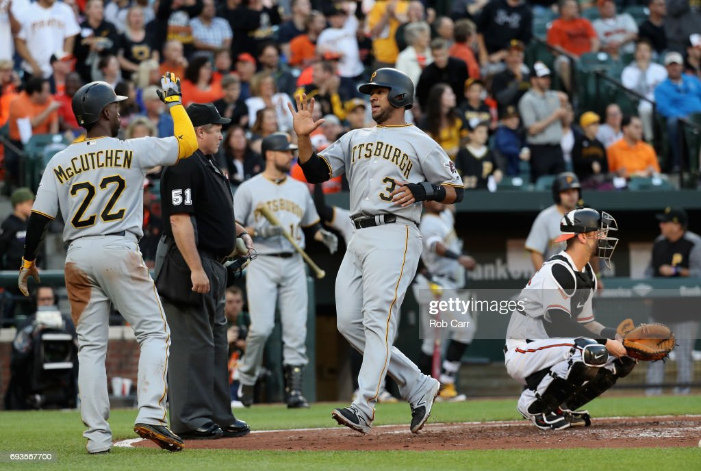 Elias Diaz #32 of the Pittsburgh Pirates and Andrew McCutchen #22 celebrate after they both scored against the Baltimore Orioles in the second inning at Oriole Park at Camden Yards on June 7, 2017 in Baltimore, Maryland.
