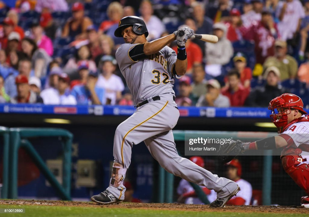 Elias Diaz #32 of the Pittsburgh Pirates hits an RBI double in the eighth inning during a game against the Philadelphia Phillies at Citizens Bank Park on July 6, 2017 in Philadelphia, Pennsylvania. The Pirates won 6-3.