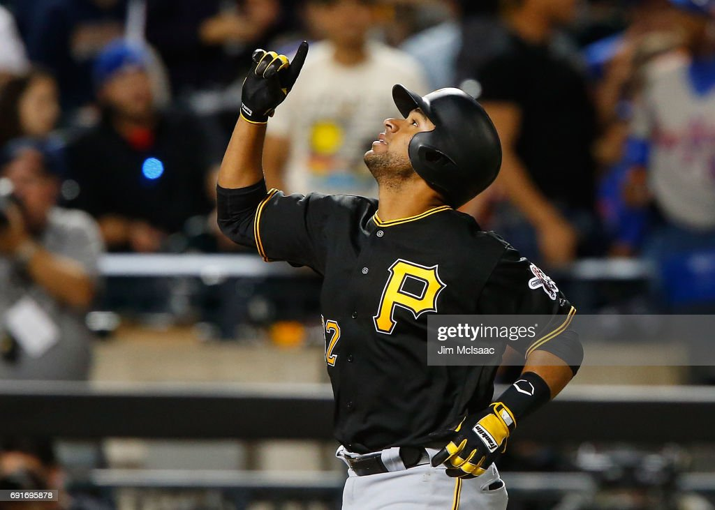 Elias Diaz #32 of the Pittsburgh Pirates reacts after his sixth inning three run home run against the New York Mets at Citi Field on June 2, 2017 in the Flushing neighborhood of the Queens borough of New York City.