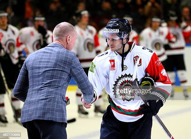 Elias Falth of Gothenburg is the Most Valuable Player during the Champions Hockey League final match at Coop Norrbotten Arena on February 3 2015 in...