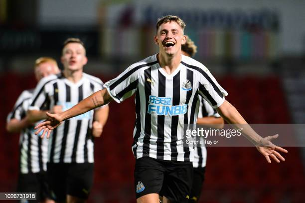 Elias Fritjof Sorensen of Newcastle United celebrates after he scores Newcastle's third goal during the Checkatrade Trophy Match between Doncaster...