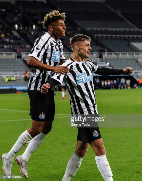 Elias Fritjof Sorensen of Newcastle United celebrates after scores Newcastle's fifth goal during the Premier League 2 Match between Newcastle United...