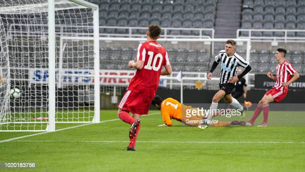 Elias Fritjof Sorensen of Newcastle United scores Newcastle's fifth goal during the Premier League 2 Match between Newcastle United and Sunderland at...