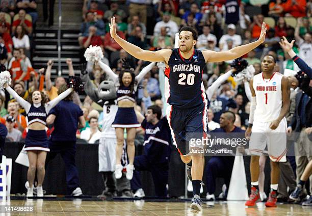 Elias Harris of the Gonzaga Bulldogs reacts after he made a 3point basket late in the second half against the Ohio State Buckeyes during the third...