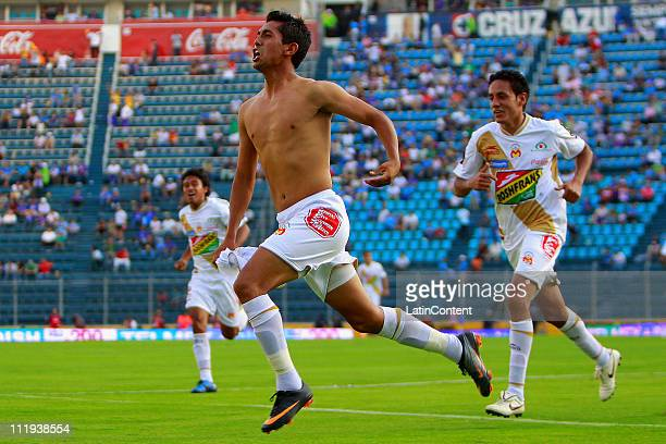 Elias Hernan Hernandez of Morelia celebrates a scored goal during a match against Cruz Azul as part of the Clausura Tournament 2011 in the Mexican...