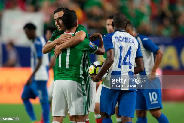 Elias Hernandez and Erik Torres of Mexico celebrate after qualifying to the Gold Cup Semifinal after the CONCACAF Gold Cup 2017 quarterfinal match...